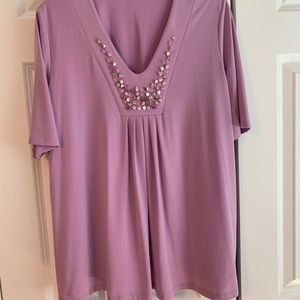 Susan Graver short sleeve blouse with stones .